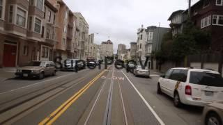 Long Tracking Shot From The Front Of The Cable Car. Touri...