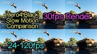 Hero4 Black - Slow Motion Comparison Test ( FPS&% ) 30fps Render - GoPro Tip #409