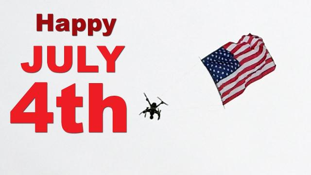 Happy July 4th USA!  DJI Phantom & XDynamics Evolve attempt to fly a flag in the wind