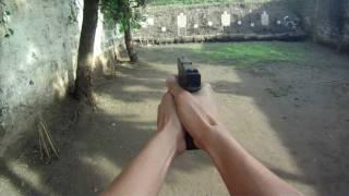 Shooting Glock 17 Using GoPro Camera At Firing Range