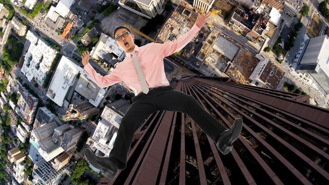 What it's like to fall down a 1,000 foot building