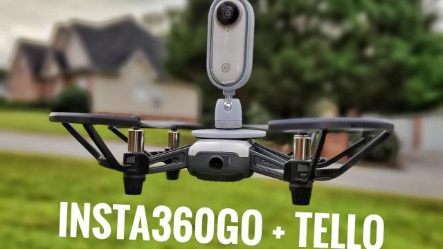 Flying my #insta360go on the #djiTello drone!!