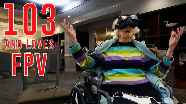 103 year old Doris FPV REACTION (First time flying)
