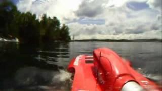 Go Pro On Remote Control Nitro Boat Crashes Into Cliff And Sinks