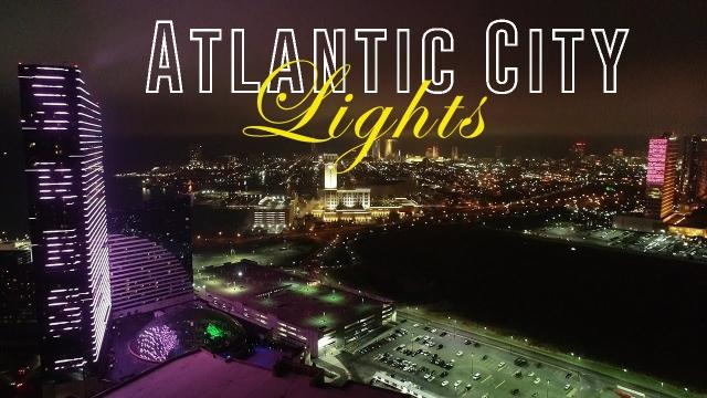 Atlantic City Casino Lights at NIGHT (Drone View)  - KEN HERON (4K)